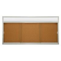 """96 x 48"""" Sliding Glass Corkboards with Radius Frame w/ Header"""