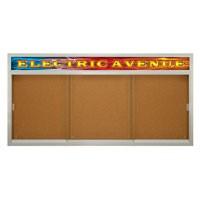 "96 x 48"" Sliding Glass Corkboards with Radius Frame w/ Illuminated Header"