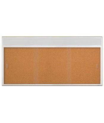 """96 x 36"""" Sliding Glass Corkboards with Radius Frame w/ Header"""