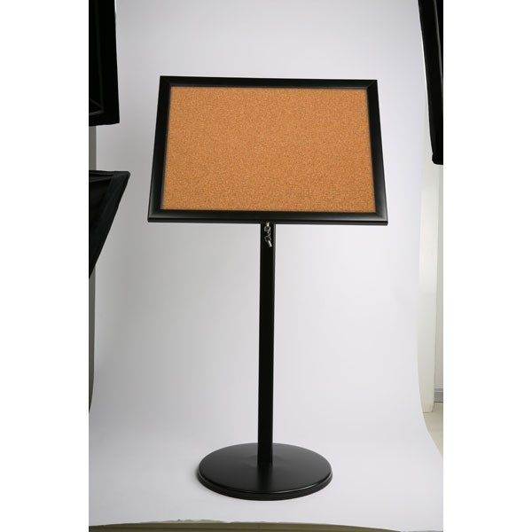 """Poster Board on Curved Post with Cork 4x8.5""""x11"""" Viewable Area Landscape/Portrait use Black"""