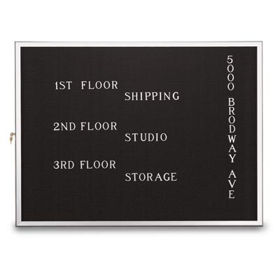 "48 x 36"" Slim Style Radius Framed Enclosed Letterboard"