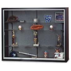 "48 x 36"" x 8"" Black Laminate Wood Framed Display Cases"