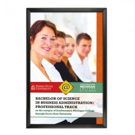 "Snap Frame 24'' X 36''  Poster Size 1.25"" Black Color Profile, Safe Round Corner"