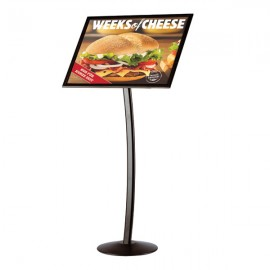 "Curved Sign Holder 18"" x 22"" Poster Size Black, Landscape & Portrait position"