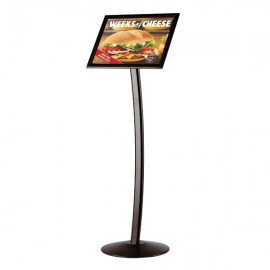 "Curved Sign Holder 11"" x 17"" Poster Size Black, Landscape & Portrait position"