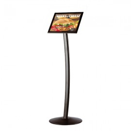 "Curved Sign Holder 8.5"" x 11"" Poster Size Black, Landscape & Portrait position"
