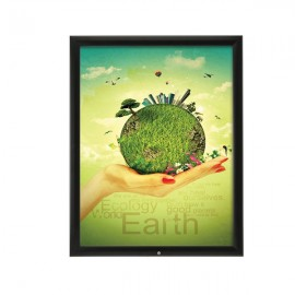 "Lockable Outdoor Frame 22'' X 28''  Poster Size 1.38"" Black Color Profile, Mitered Corner"