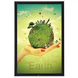"Lockable Outdoor  Frame 24'' X 36''  Poster Size 1.38"" Black Color Profile, Mitered Corner"