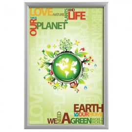 "Lockable Outdoor  Frame 24'' X 36''  Poster Size 1.38"" Silver Color Profile, Mitered Corner"