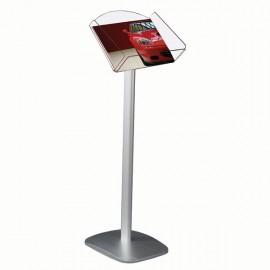 "Decorative Brochure Stand 8.5"" x 11"" Paper Area,  Landscape Silver Anodized Aluminum Body & Acrylic"