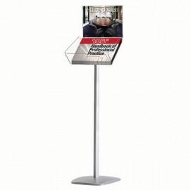 "Decorative Brochure Stand Plus 8.5"" x 11"" Paper Area,  Landscape Silver Anodized Aluminum & Acrylic"