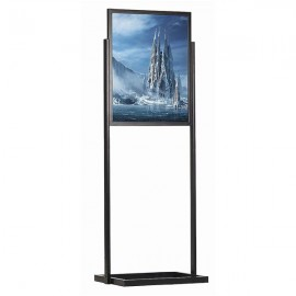 "Eco Floor Stand 24""w x 36""h Poster Size Black, 1 Tier, Double Sided"