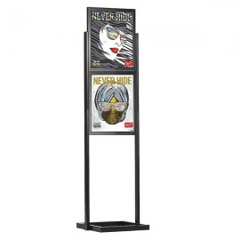 "Eco Floor Stand 18""w x 24""h Poster Size Black, 2 Tiers, Double Sided"