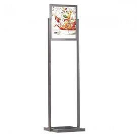 "Eco Floor Stand 18""w x 24""h Poster Size Silver, 1 Tier, Double Sided"