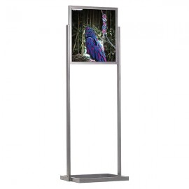 "Eco Floor Stand 22""w x 28""h Poster Size Silver, 1 Tier, Double Sided"