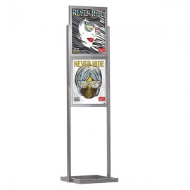 "Eco Floor Stand 18""w x 24""h Poster Size Silver, 2 Tiers, Double Sided"