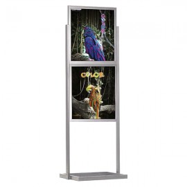 "Eco Floor Stand 22""w x 28""h Poster Size Silver, 2 Tiers, Double Sided"