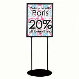 "Oval Floor Stand 22""w x 28""h Poster Size Black, Double Sided"