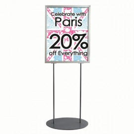 "Oval Floor Stand 22""w x 28""h Poster Size Silver, Double Sided"