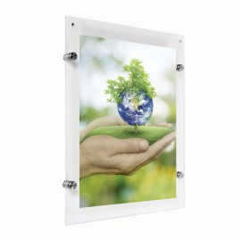 "Wall Mount Clear Acrylic Frame with Standoff Hardware and Magnets for 11"" x 17"" Poster Size"