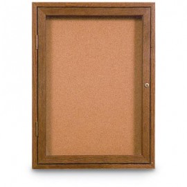 "18 x 24"" Single Door Illuminated Indoor Wood Enclosed Corkboard"