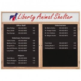 "48 x 36"" Double Door Enclosed Magnetic Directory Board w/ Header"
