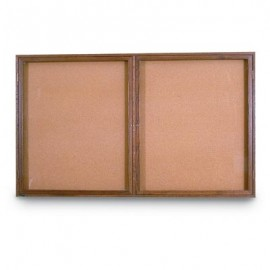 "42 x 32"" Double Door Standard Indoor Wood Enclosed Corkboard"