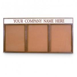 """72 x 36"""" Triple Door Illuminated w/ Header Indoor Wood Enclosed Corkboard"""