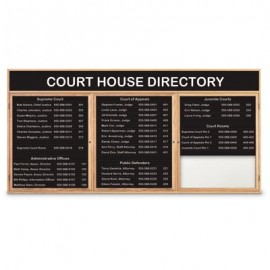 "72 x 36"" Triple Door Enclosed Magnetic Directory Board w/ Header"