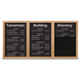 "72 x 36"" Triple Door Standard Enclosed Magnetic Directory Board"