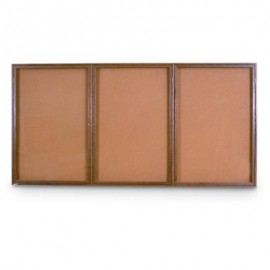 "72 x 48"" Triple Door Illuminated Indoor Wood Enclosed Corkboard"