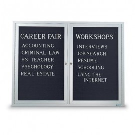 "60 x 36"" Double Door Illuminated Indoor Enclosed Letterboard"