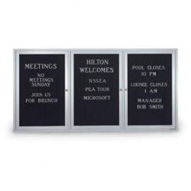 "72 x 36"" Triple Door Illuminated Indoor Enclosed Letterboards"