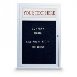 "24 x 36"" Single Door Standard Outdoor Enclosed Letterboard w/ Illuminated Header"