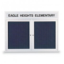 "42 x 32"" Double Door Indoor Enclosed Letterboard w/ Header"