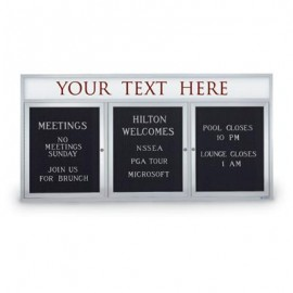 "72 x 36"" Triple Door Outdoor Enclosed Letterboard w/ Header"