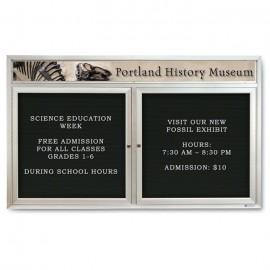 "60 x 36"" Double Door Indoor Enclosed Letterboard w/ Illuminated Header"