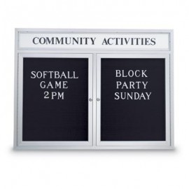 "60 x 36"" Double Door Outdoor Enclosed Letterboard w/ Header"
