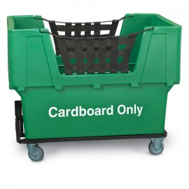 "Cardboard Only"" Green Imprinted Plastic Basket Truck"
