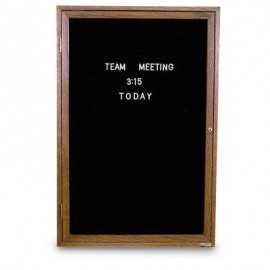 "18 x 24"" Illuminated Single Door Indoor Wood Enclosed Letterboard"