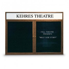 "60 x 48"" Double Door Indoor Wood Enclosed Letterboard Illuminated w/ Header"