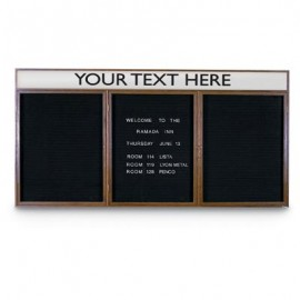 "72 x 36"" Triple Door Indoor Wood Enclosed Letterboard Illuminated w/ Header"
