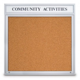 "48 x 48"" Single Door with illuminated Header Indoor Enclosed Corkboards"