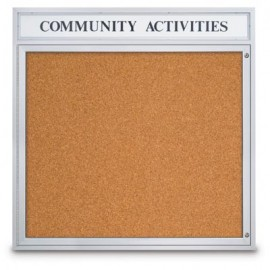 "48 x 48"" Single Door Illuminated Indoor Enclosed Corkboards"