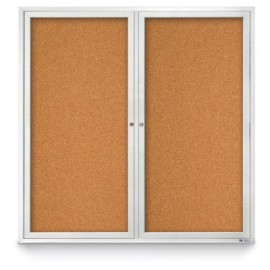 "48 x 48"" Double Door Standard Indoor Enclosed Corkboards"