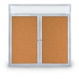 "48 x 48"" Double Door with Header Indoor Enclosed Corkboards"