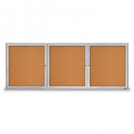 "96 x 36"" Triple Door with Illuminated Header Indoor Enclosed Corkboards"