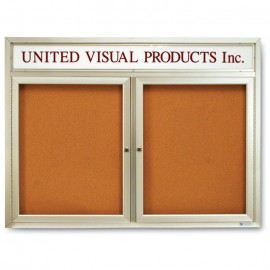 "48 x 36"" Double Door with Illuminated Header Indoor Enclosed Corkboards"