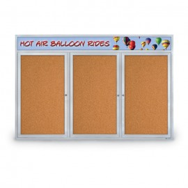 "72 x 48"" Triple Door with Illuminated Header Indoor Enclosed Corkboards"
