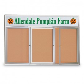 "96 x 48"" Triple Door with Illuminated Header Indoor Enclosed Corkboards"